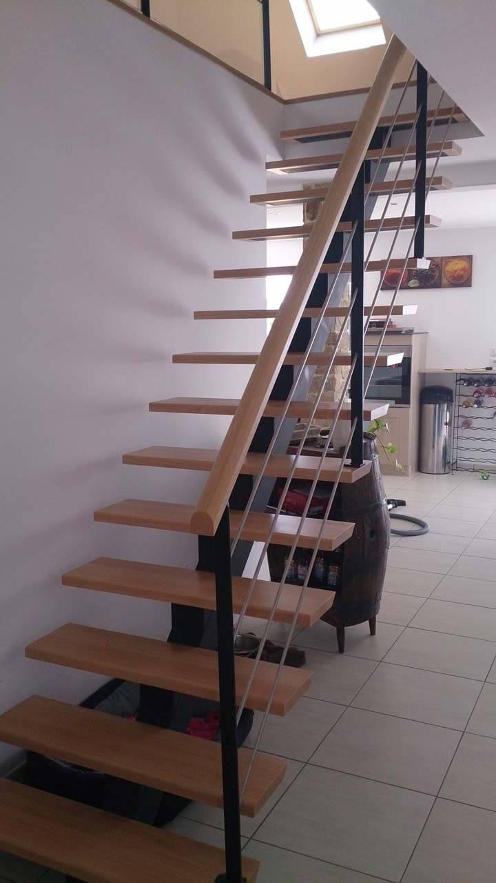 escalier bois et acier d clic menuiserie. Black Bedroom Furniture Sets. Home Design Ideas
